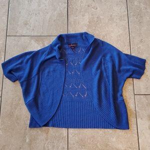 3/$12 blue crochet pattern shrug